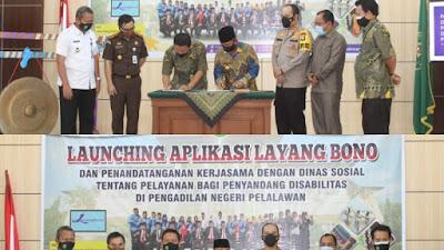 PN Pelalawan Launching Aplikasi Layang Bono Pencari Keadilan
