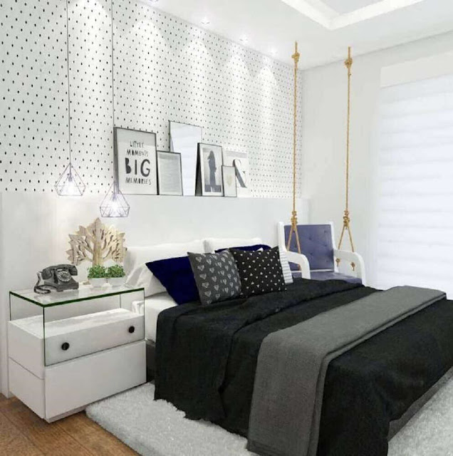 This beautiful young women's bedroom decor inspiration in a modern style has even taken a swing