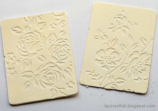 Layers of ink - Vintage Flower Artist Trading Cards Tutorial by Anna-Karin Evaldsson. Apply gesso.