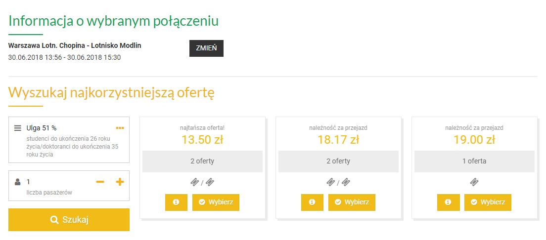 dojazd z Warszawy na lotnisko w Modlinie - cena