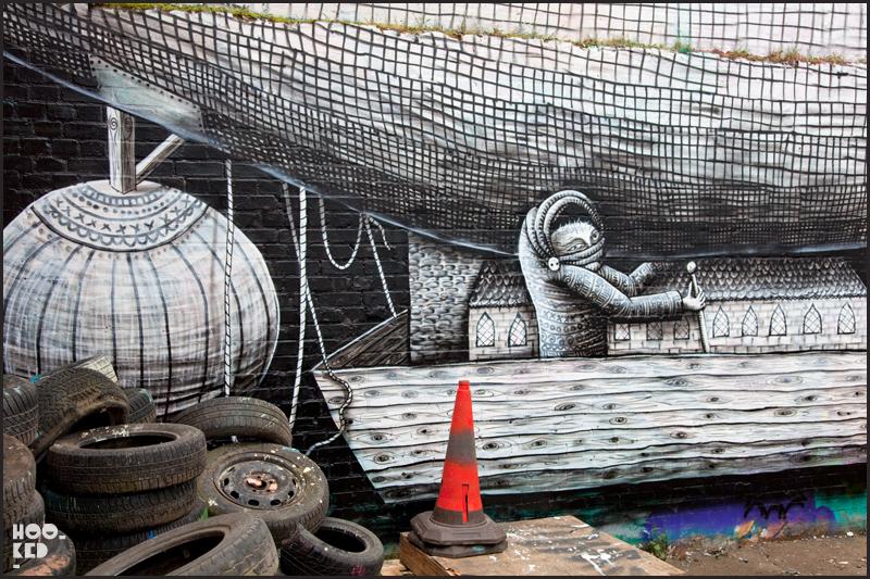 Street Artist Phlegm's Hackney Wick Mural