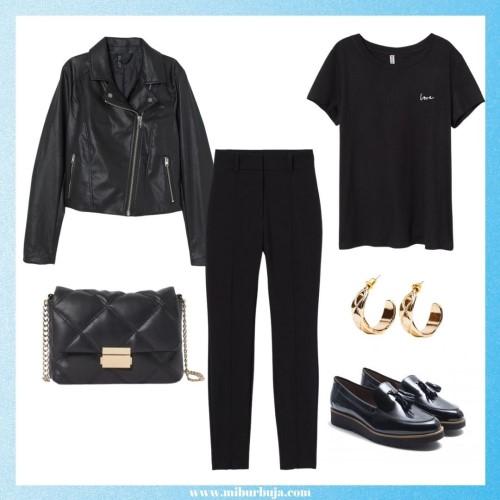 Total Black Look with mocasines
