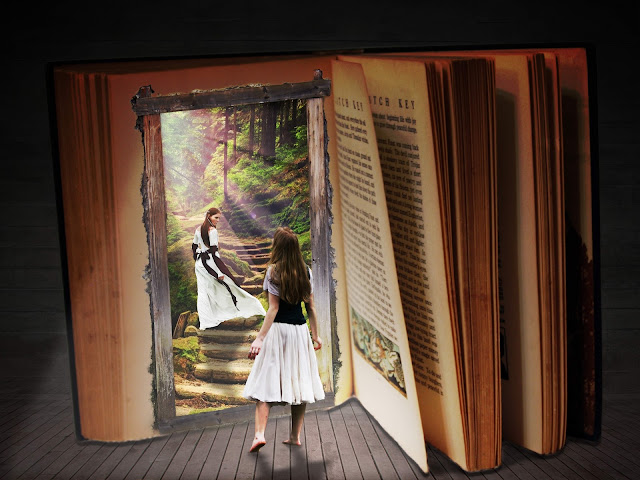 Sereal open book with a young lady opserving another young lady climing some stone stairs within the pages of the book through a door in the book. .