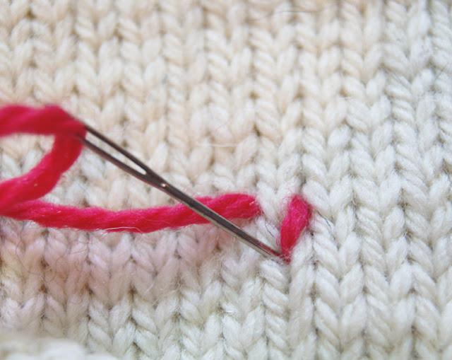 Troisième étape pour broder une maille de tricot