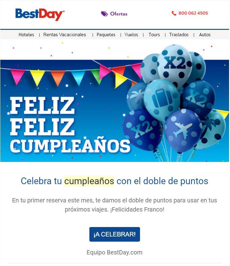 Promoción de cumpleaños Bestday