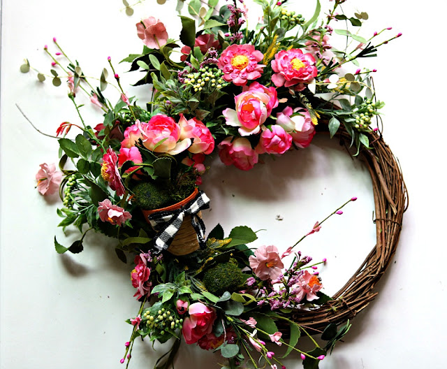 wreath, spring, grapevine, floral, diy, craft, handmade, home decor