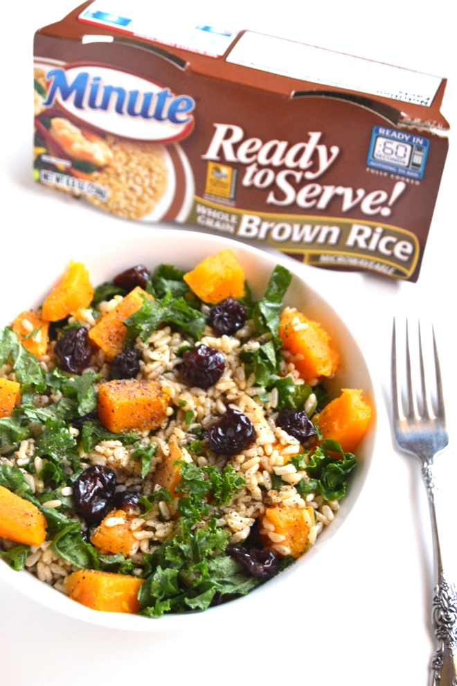 Butternut Squash, Kale and Cranberry Rice is simple to make, nutritious and tasty with a homemade apple cider vinaigrette! www.nutritionistreviews.com