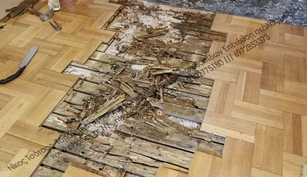 Επισκευή ψαροκόκαλου ξύλινου πατώματος και  συντήρηση του με βερνίκι ματ