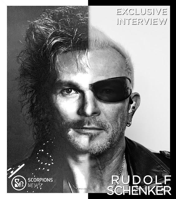 Montagem em preto e branco com metade do rosto de Rudolf Schenker nos anos 80 e metade do rosto do Rudolf nos dias de hoje, e os dizeres Exclusive Interview