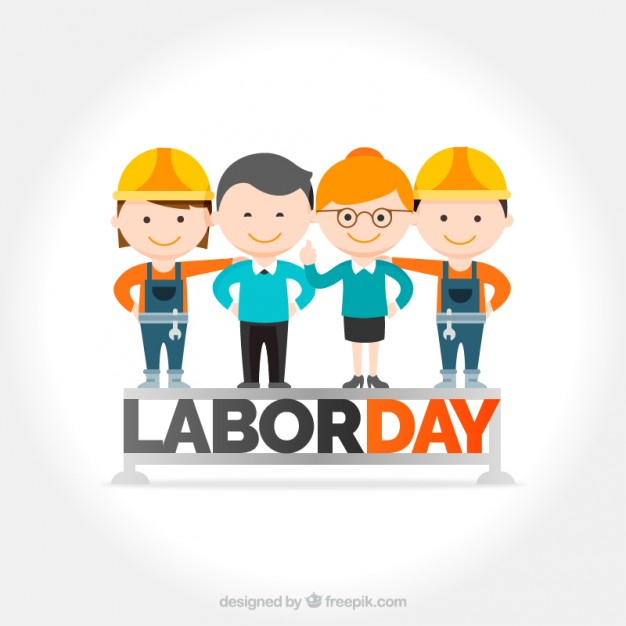 Labor day background with nice workers Free Vector