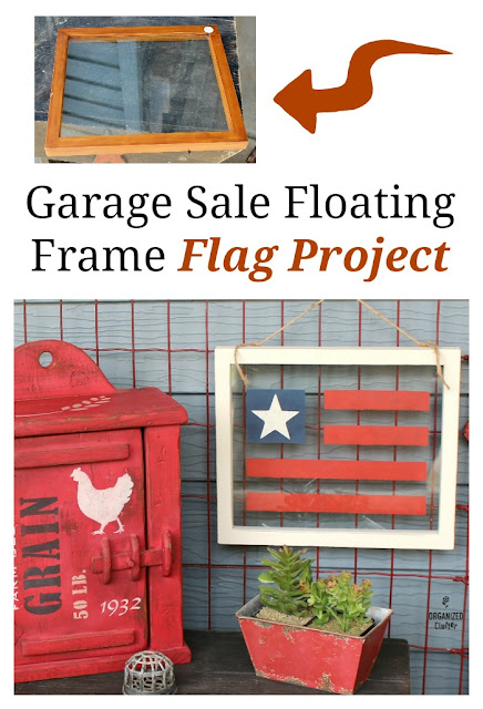 Garage Sale Floating Frame Patriotic Flag Project #floatingframe #stencil #USflag #Patrioticdecor #4thofJuly #garagesalefind #frameideas