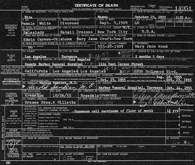 Rita Carewe Death Certificate