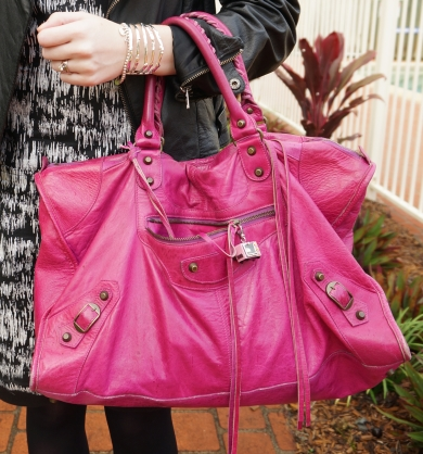 Away From Blue Handbag Balenciaga Magenta 2005 work Bag worn on arm