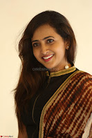 Lasya looks super cute in black choli Saree at Raja Meru Keka Press Meet ~  Exclusive 075.JPG