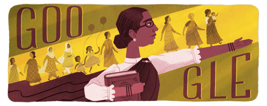 Google Doodle Celebrating Today, Muthulakshmi Rreddis 133rd Birthday