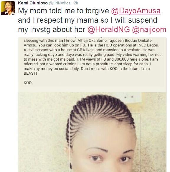 Kemi Olunloyo seems to have sheathe her sword against Dayo Amosa