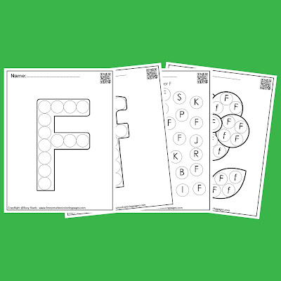 Letter F dot markers free preschool coloring pages ,learn alphabet ABC for toddlers