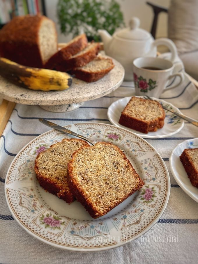 Two mini banana bread loaves sliced and served