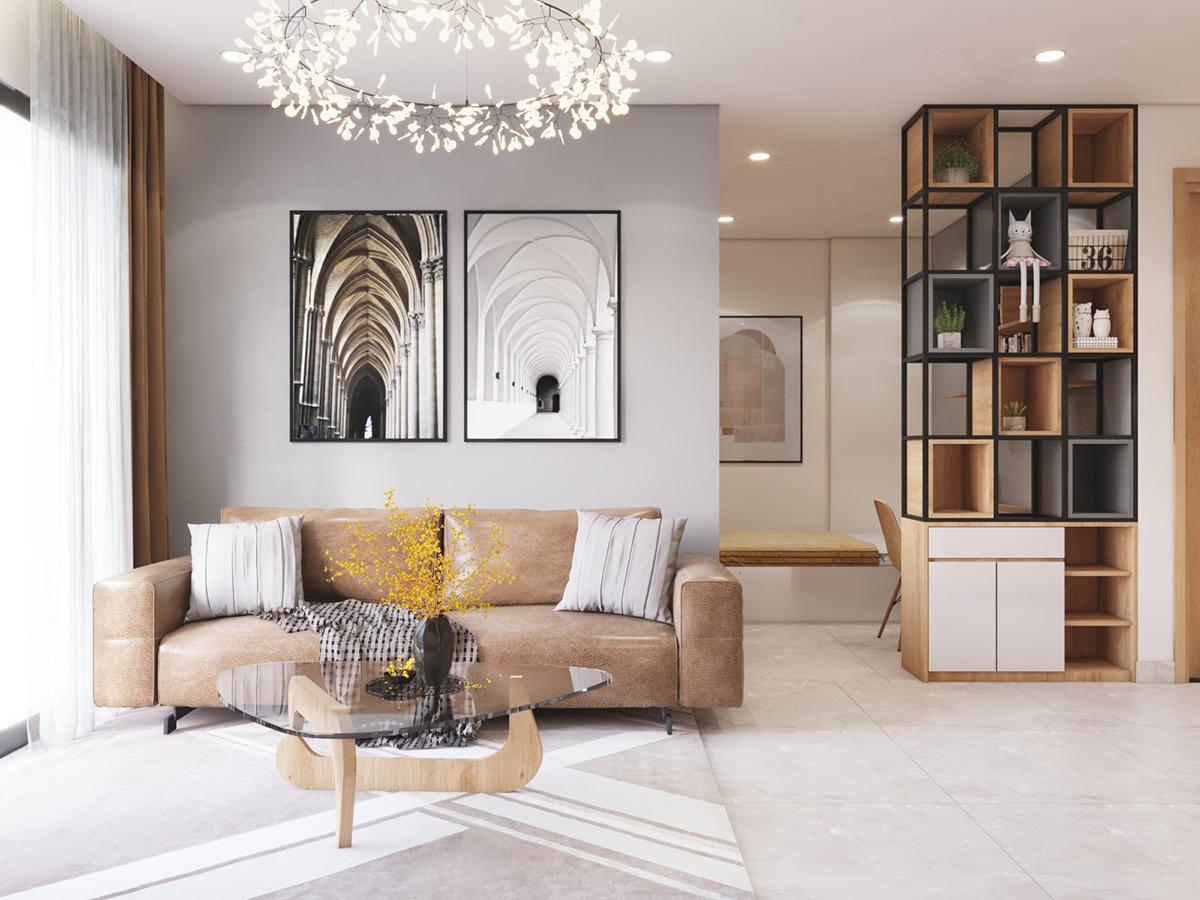 Thiết kế nội thất căn hộ 1 phòng ngủ + 1 Vinhomes Ocean Park Gia Lâm