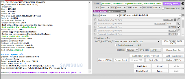 Log Info Konfigurasi ic eMMC/eMCP SONY E4 Dual E2115