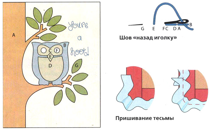 "аппликация Сова на подушку -  Cushion with applique ""owl"""