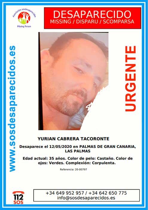 Yurian Cabrera Tacoronte, desaparecido hace cuatro meses y necesita medicación