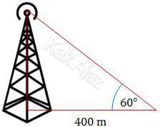 Tinggi menara televisi diamati dengan sudut elevasi 60° pada jarak 400 m dari kaki menara, soal UN 2017 Matematika SMA IPS No. 32