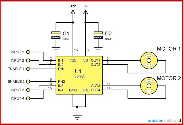 Skema rangkaian IC L293D untuk driver Motor DC