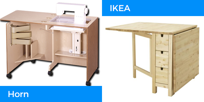 the horn of america compact sewing cabinet and ikea norden table are featured in this sewing