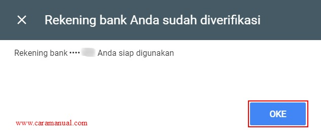 Rekening bank Anda sudah diverifikasi
