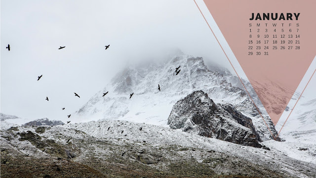 Desktop Wallpaper Calendar January 2017 - Snowcapped mountains with birds