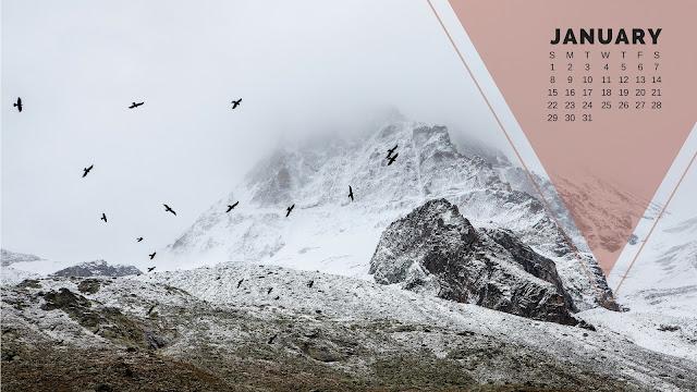 Desktop Wallpaper Calendar January 2017 - Snowcapped mountains with birds