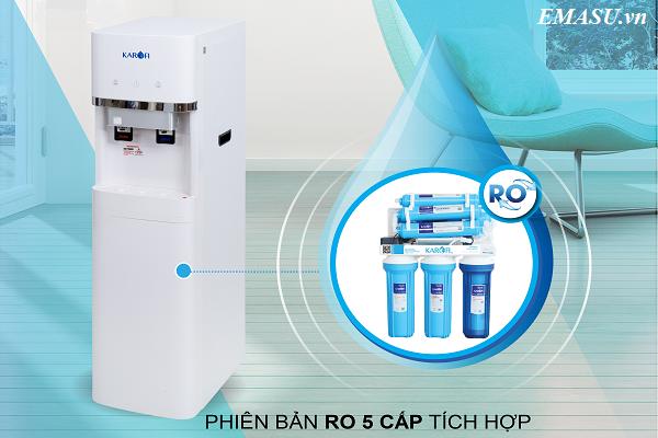 Cây nước nóng lạnh Karofi HC300RO được tích hợp hệ thống lọc RO 5 cấp