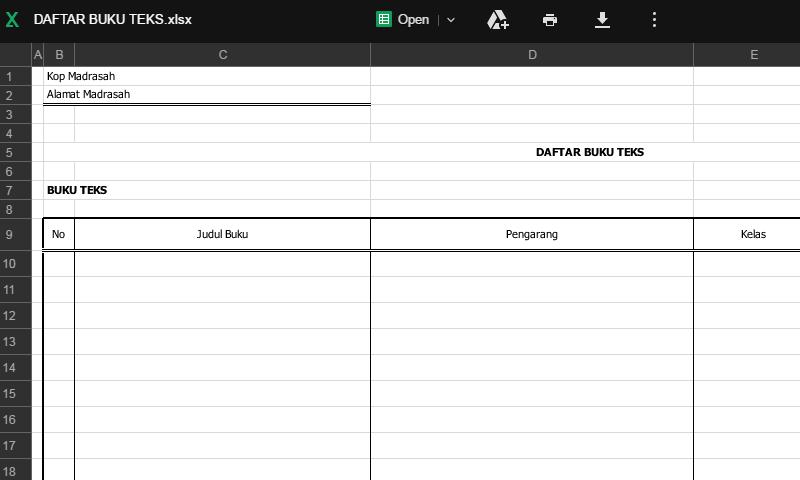 Contoh Bentuk Format Daftar Buku Teks pada Administrasi Perpustakaan Sekolah (Template Siap Edit - Print)
