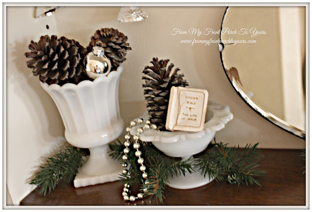 Simple Christmas Vignette-Vintage Milk Glass-Vinateg Child Bible-Christmas Decorations-From My Front Porch To Yours