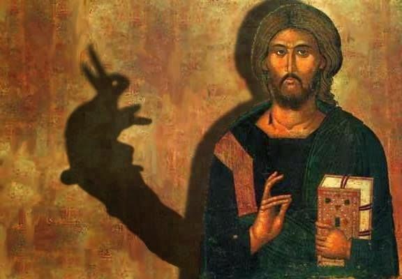 Funny Jesus Rabbit Shadow Puppet Joke Picture