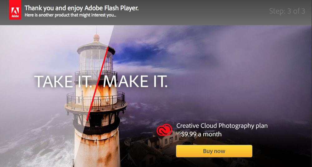 تأكيد تثبيت برنامج Adobe Flash