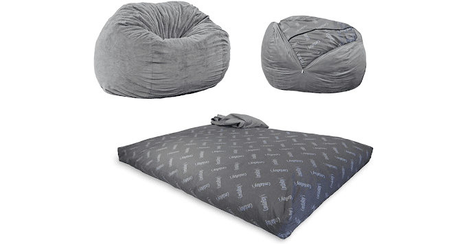 Convertible Chair Folds from Bean Bag to Bed