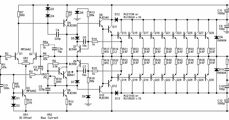 electronic circuits diagram  1500w power amplifier circuit
