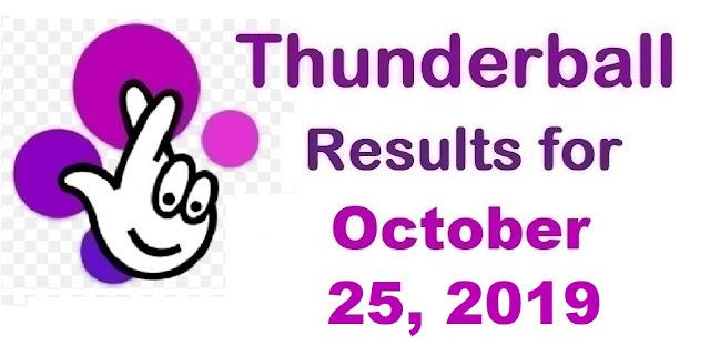 Thunderball Results for Friday, October 25, 2019