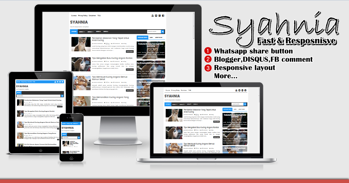 Syahnia Fast and Responsive Blogger Template