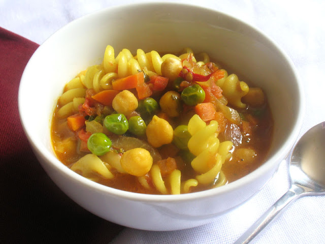 Summer Tomato Soup with Pasta and Chickpeas