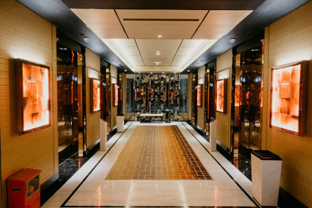 Luxurious corridor with the same design as the resort's façade