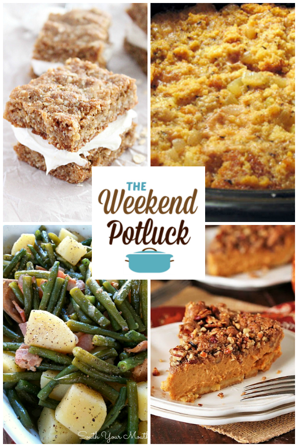 A virtual recipe swap with Oatmeal Creme Bars, Slow Cooker Cornbread Dressing, Green Beans & Potatoes, Pecan Streusel Pumpkin Pie and more!