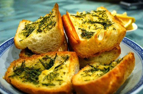 Flavored Greek bread with herbs