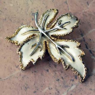 Cream enamel leaf brooch by Exquisite