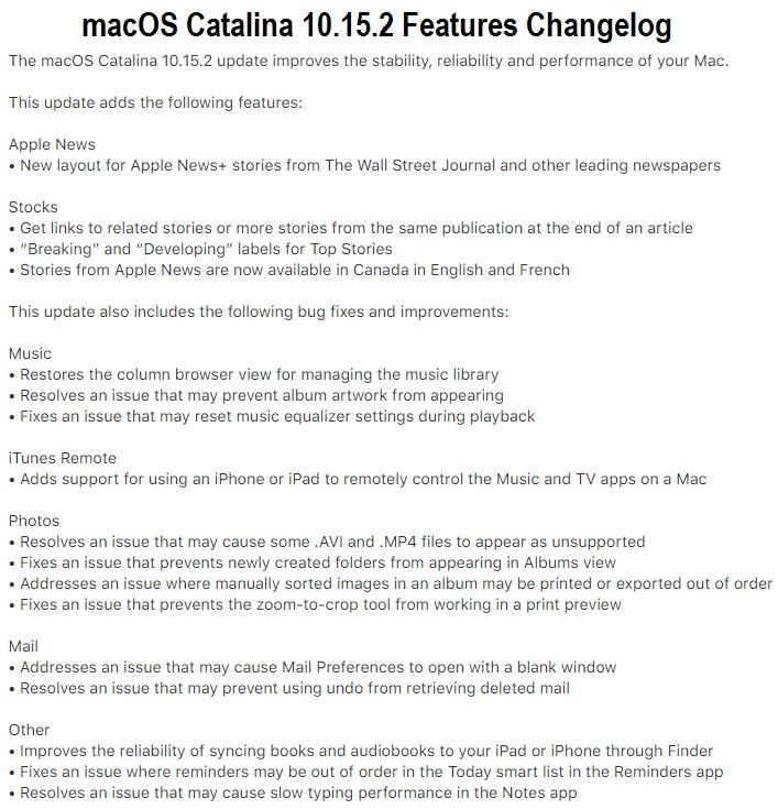 macOS Catalina 10.15.2 Changelog