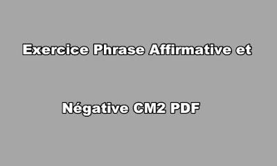 Exercice Phrase Affirmative et Négative CM2 PDF