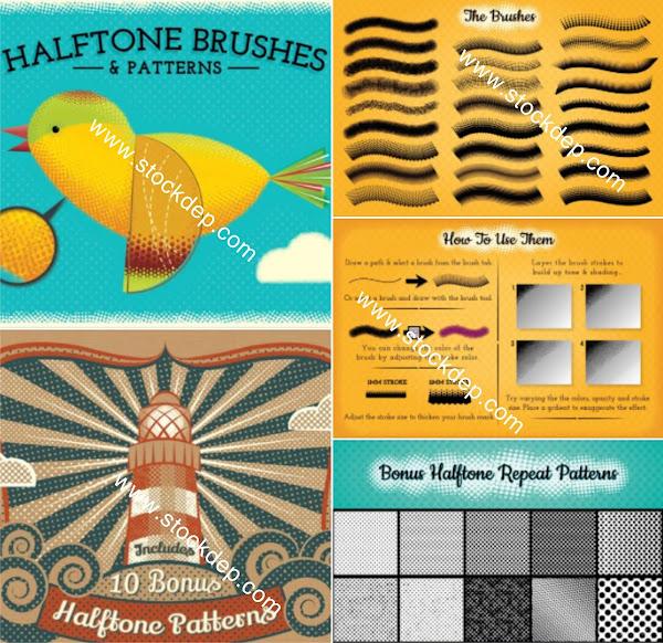 Halftone Brushes & Patterns Download free
