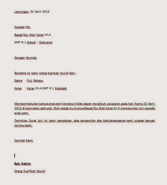Contoh Surat Izin Tidak Masuk Sekolah Biasa Dipakai | Cara ...